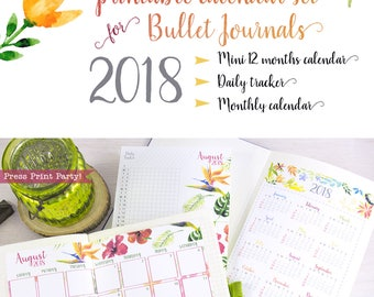 2018 Calendar Printable SET for Bullet Journals and Planners, 2018 Monthly Calendar, Daily Task Tracker, Mini Calendar, INSTANT DOWNLOAD