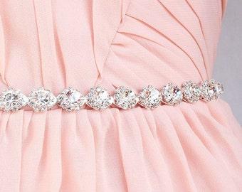 Bridal crystal belt Crystal rhinestone belt bridal sash rhinestone sash Thin Bridesmaid belt  bridal belt   beaded belt for wedding dress