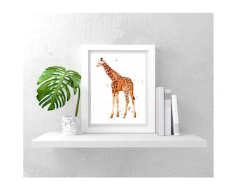 GIRAFFE print, Kids room art, nursery safari art,