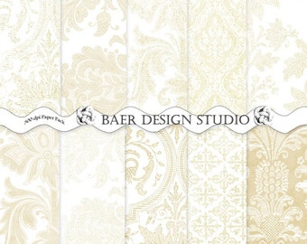 Shabby Chic Digital Paper, White and Gold Digital Paper, Wedding Digital Paper, Distressed Tan Damask Digital Paper, #14172