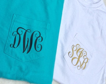 Comfort Colors Pocket Tee With Swirly Monogram - Choose Color - Personalized Pocket Tee - Monogram Pocket Tee - Gifts for Students Teachers