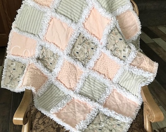 Baby rag quilt, baby blanket, baby gift, baby girl gift, baby shower gift, new baby gift, baby bedding, crib quilt, Flannel, Shabby Chic