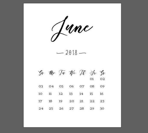 June Calendar 2018 Print Newborn Print Pregnancy