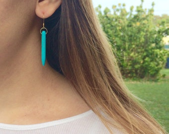Turquoise drop earrings, turquoise dangle earrings, turquoise earrings, silver turquoise earrings, turquoise spike earrings