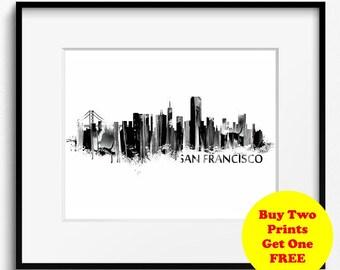 San Francisco Skyline Watercolor Black and White Art Print (706) Cityscape California USA
