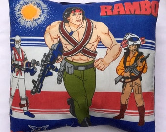 Rambo Rare Vintage Fabric Cushion Selection - handmade by Alien Couture