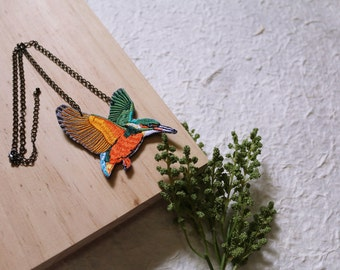 Hummingbird Embroidery Necklace