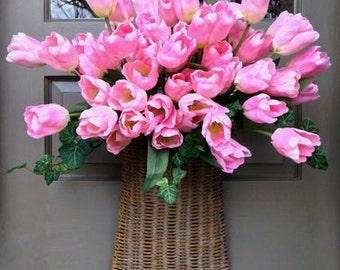 Lovely Pink Tulip Door Basket--New Sale Price
