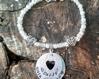 Personalized Wedding Memorial Anklet, Personalized Wedding Memorial Bracelet, Walk With Me Daddy, Bride Gift, Walk With Me Mommy