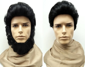 Black Bearded Men's Pompadour Wig with Removable Beard. Lincoln Wig. Synthetic Costume Wig. [102-493-Abe-1]