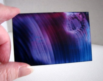 Midnight Blue, Violet Miniature Original Encaustic Abstract Painting for Collectors / 1:12 Scale Dollhouse Art / SFA (Small Format Art)