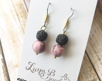 SALE Pink Calamine Essential Oil Diffusing Earrings