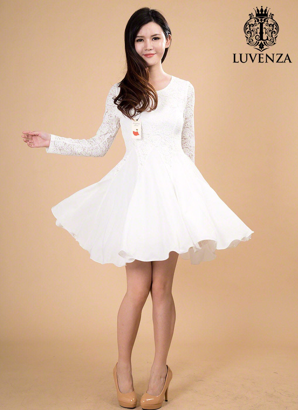 Weiße Spitze Chiffon Kleid / wenig weiß Kleid / Fit und