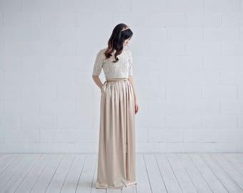 Oria - gold wedding dress / simple wedding dress / elopement bridal gown / casual wedding dress / bridal separates / two piece wedding gown