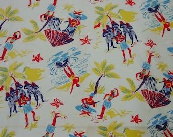"Vintage Feedsack, Fabric, Large 36 x 42"" Novelty Hawaiian Figures,Palm Tree, Surfing,Hula"