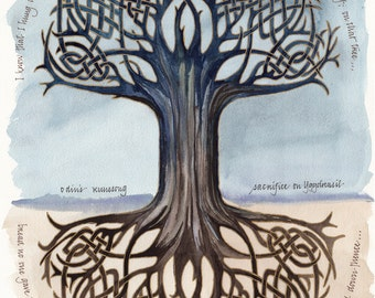 Odin's Runesong print, 10x13 in. giclee of watercolor calligraphy poem, tree of life
