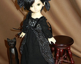 "Black Renaissance Gown Outfit for Yo-SD / LittleFee / 10"" BJD"