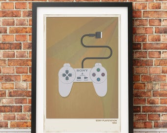 Retro PlayStation Video Game Print