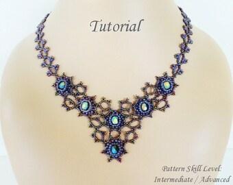 MIST beaded necklace beading tutorial beadweaving pattern seed bead beadwork jewelry beadweaving tutorials beading pattern instructions
