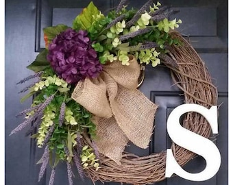 HYDRANGEA Wreath with Purple Hydrangea, Mixed Green Eucalyptus and Purple Heather, SPRING Door Decor, Door Wreaths
