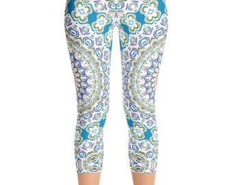 Mid Rise Printed Capri Yoga Pants, Unique Mandala Tights, Ocean Blue and Sea Green Boho Beach Leggings, Yoga Wear Leggings