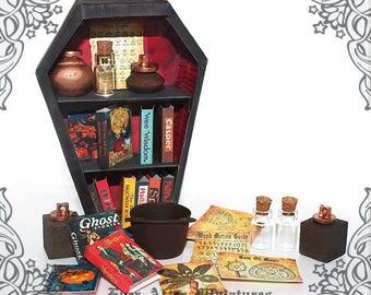 COFFIN Halloween Dollhouse Bookcase – 1:12 DIY Vampire Coffin Halloween Miniature Dollhouse Bookcase Miniature Book Case Printable DOWNLOAD