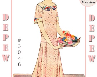MultiSize Vintage Sewing Pattern Reproduction Ladies' 1920s Short Sleeve Dress #3046 -PAPER VERSION