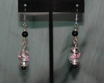 Rose Elegance Silver and Black Dangle Earrings