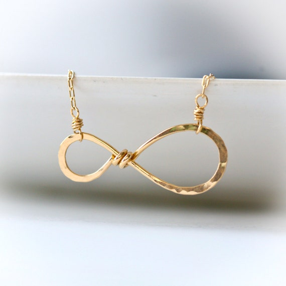 Infinity - Simple Everyday Wire Wrapped Hammered 14k Gold Filled Necklace