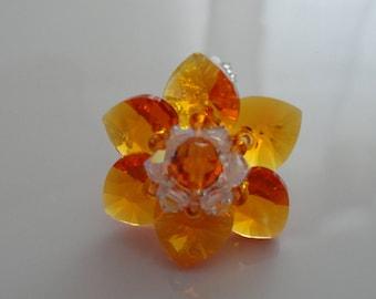 Ring Orange Tangerine Swarovski Crystal beads