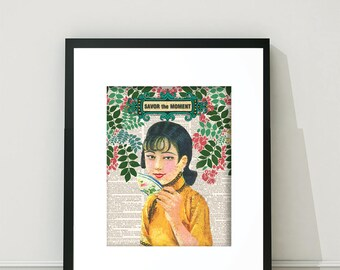 Asia, Asian Girl, Chinese Girl, Asia Print, Asian Art, Asian Prints,  Tea Art, Tea Print, Teacup, Asian Teacup, Asian Wall Art, Vintage Asia