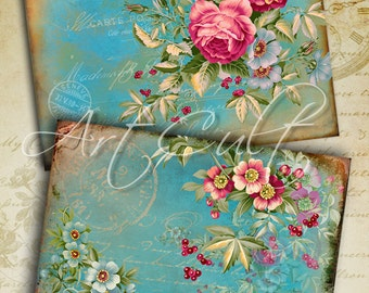 5x3.5 inch size images ENGLISH GARDEN Printable Digital Collage Sheet Greeting Cards Vintage Victorian scrap-booking Paper ArtCult designs