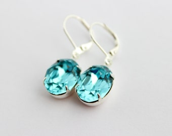 Turquoise Swarovski earrings, light turquoise earrings, winter wedding, turquoise wedding, bridesmaid earrings, 14x10 oval earrings OTL1