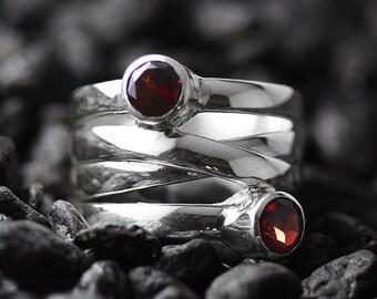 Engraved Ring Everyday Ring Garnet Ring Garnet Jewelry January Birthstone Silver Ring Garnet Personalized Ring Red Garnet Ring
