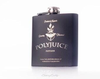 Polyjuice Potion, inspired by Harry Potter -  Black Matte 6oz Engraved Hip Flask