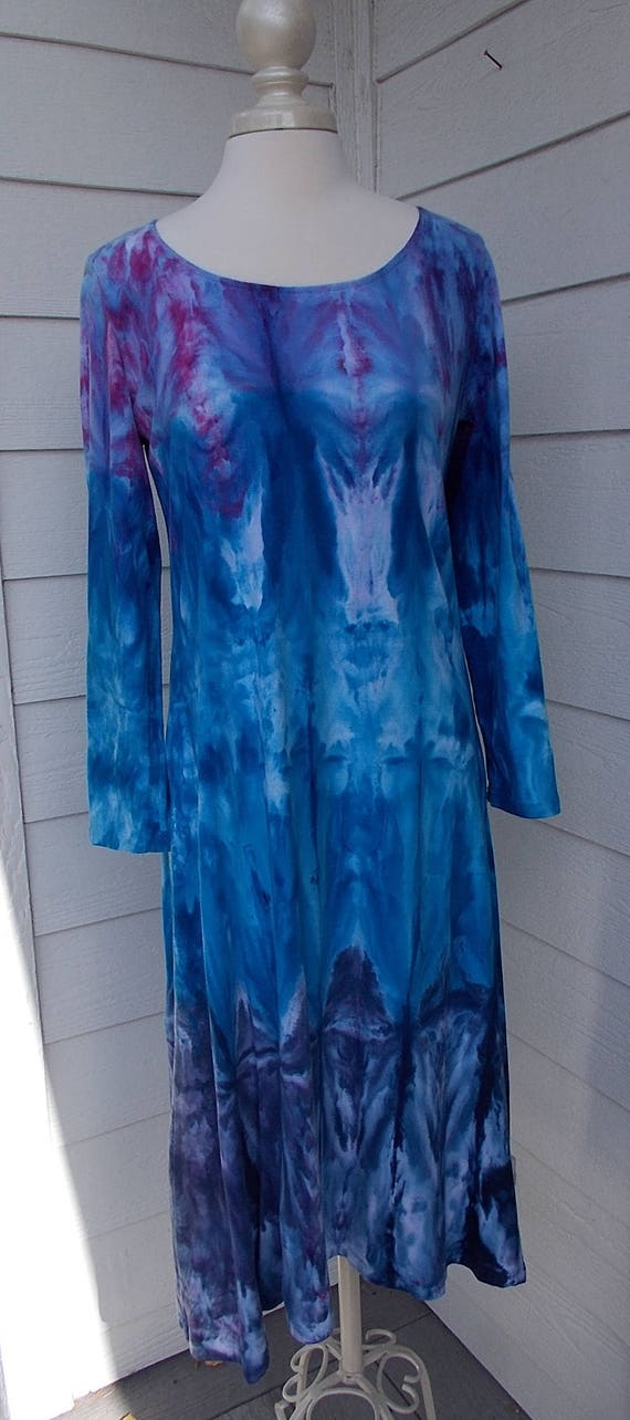 Medium Ice dye tie dye Long Sleeve Dress