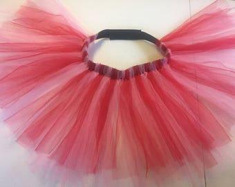 Sparkly Valentine's Red Pink Dog Tutu with Adjustable Waist