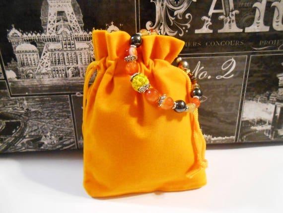 6 Goldenrod drawstring bags Velveteen