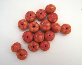 Lampwork Orange Red Beads  - Three (3)
