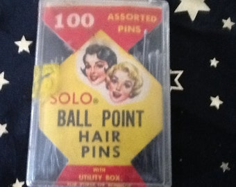 Vintage solo ball point hair pins in box