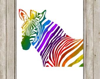 8x10 Rainbow Zebra Art Print, Zebra Printable Art, African Wildlife Poster, Rainbow Printable Wall Art, Home Decor, Instant Digital Download