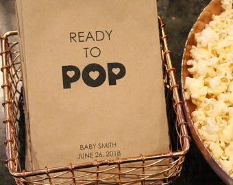 Baby Shower Popcorn Bags, Gender Reveal Favor - Ready to Pop