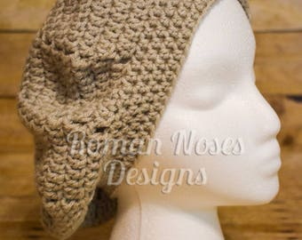 Beige Neutral Simple Crocheted Beret FREE SHIPPING