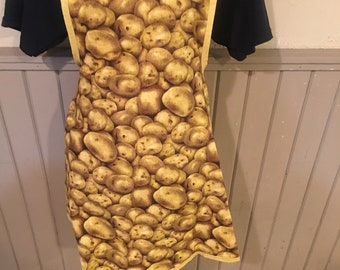 Apron with golden potatoes and vintage style