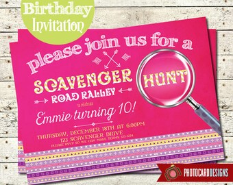 Scavenger Hunt Birthday Invitation | Mall Madness Invitation | Card | Invite | Aztec | Digital | Print file | Oh Snap | Party | Road Rally
