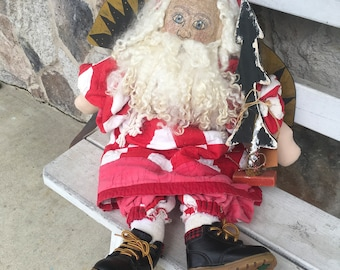 Vintage Santa Angle Handmade from Vintage Red and White Quilt
