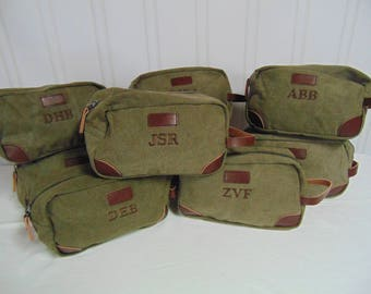 7-Groomsmen Toiletry Bags-Monogrammed Personalized Groomsmen Gifts- Canvas and Leather Dopp Kit-Tan or Olive