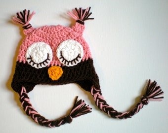 PATTERN: Owl hat, size newborn to adult, easy crochet pdf, sleepy eyes, pink blue brown, InStAnT DoWnLoAd, Permission to Sell