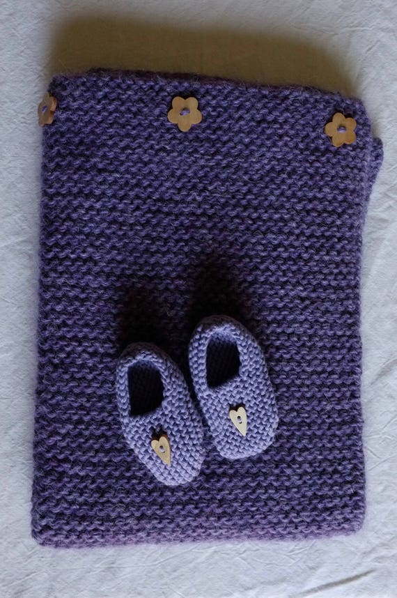 "SALES - Baby blanket (alpaca, wool & linen, 17,7"" x 27,5"") and baby slippers (pure cotton)  - oeko tex - lavender -"