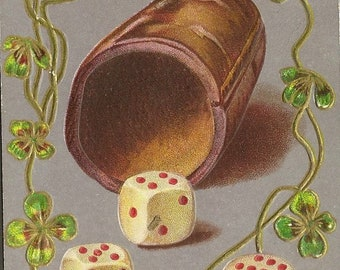 Antique Good Luck Postcard Dice Leather Cup and Four Leaf Clover